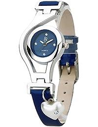 dk Heart Pearl Dangle Silver Case Leather Strap Navy Blue Analogue Women's Wrist Watch