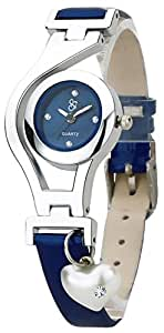 Heart Pearl Dangle Silver Case Navy Blue Color Leather Strap Analogue Wrist Watch for Girls - Womens (LMP3-1363)
