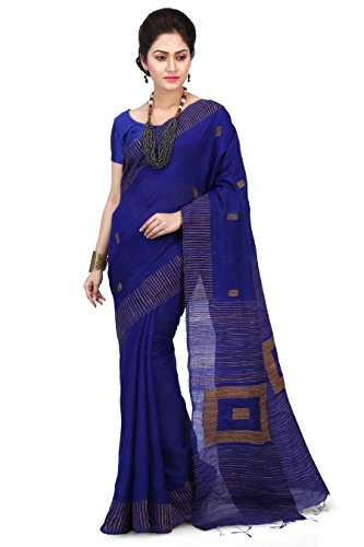 Wooden Tant Women's Silk Cotton Saree with Blouse Piece, Free Size (Wbg05_Blue)