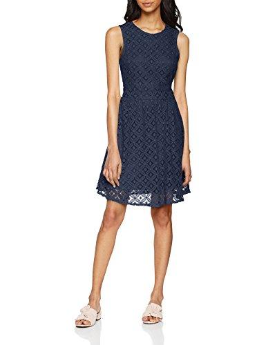 VERO MODA Damen Kleid Vmsimone Lace S/L Short Dress Noos, Blau (Navy Blazer Navy Blazer), 34 (Herstellergröße: XS)
