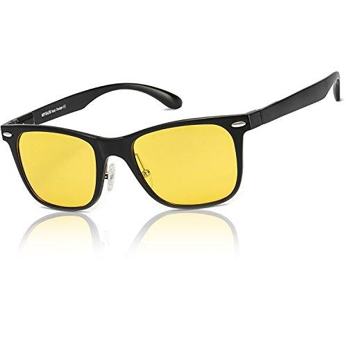 Occhiali da sole gialli mode hd polarizzate per uomo guida notturna antiriflesso semitelaio ultraleggeri - protezione 100% uv400 (nero)