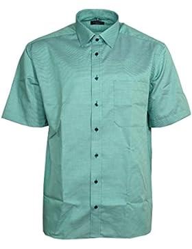 Eterna Herren Hemd Baumwoll Hemd Baumwollhemd Business Herrenhemd Kurzarm Comfort Fit Petrol Blau