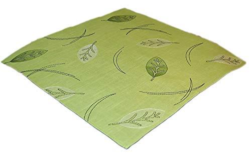 Tischdecke 60x60 cm Eckig Modern Lindgrün Blätter Grün Schwarz Tisch Deko Decke Herbst Mitteldecke 60x60 cm