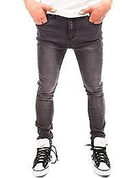 24brands - Pantalon en denim jean adhérent enraciné à cigarette noir gris look usé vintage 5 poches bouton en métal fermeture à glissière hommes - 2960, Size:28;Colour:Grey