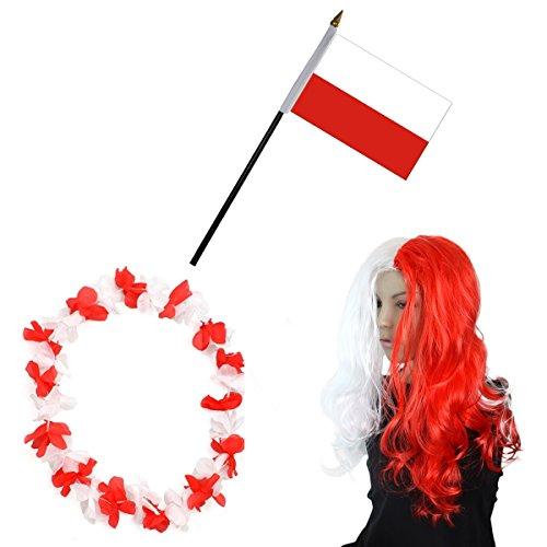 Polen Kostüm Land - Sonia Originelli Fan-Paket-4 WM Fußball Locken Perücke Hawaiikette Flagge Party Farbe Polen