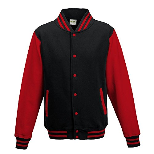 Just Hoods - Unisex College Jacke 'Varsity Jacket' BITTE DIE JH043 BESTELLEN! Gr. - XL - Jet Black/Fire Red