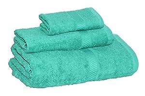 Welhome Splendor 3 Piece Cotton Towel Set - Jade
