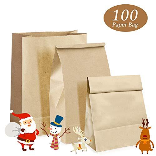 Kraftpapiertüten, Woopus100 Kleine Braune Papiertüten Papierbeutel Kraftpapier für Adventskalender,Geschenktüten, Gastgeschenke, Weihnachts-Geschenktüte, Geburtstag, 9 x 18 x 5.5 cm
