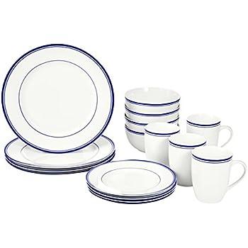 AmazonBasics 16-Piece Cafe Stripe Dinnerware Set (Blue)