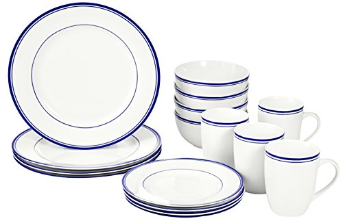 AmazonBasics 16-Piece Cafe Stripe Dinnerware Set (Blue)