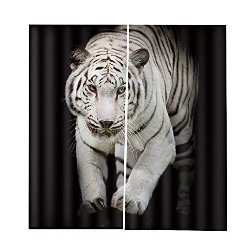LOVIVER Ein Satz Von 2 Stücke Teen Tier Dekor 3D Print Verdunkelung Vorhang - weißer Tiger