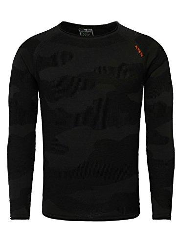 Key Largo Herren Pullover EXIT Camouflage Look Ziernähte Langarm Gemustert Schwarz