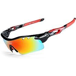 INBIKE Gafas De Sol Polarizadas para Ciclismo con 5 Lentes Intercambiables UV400 Y Montuta De TR-90, Gafas para MTB Bicicleta Montaña 100% De Protección UV(Negro)