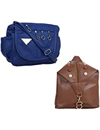 Fillincart Women Blue And Brown Colour PU Material Pack Of 1 Back Pack And 1 Sling Bags