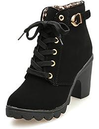 Amazon Ancho Zapatos Tacon Cordones Zapatos Negras Botas es Y Inq01rHI