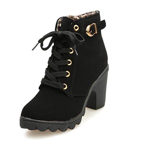 Zapatos de mujer Botines Zapatos casuales de mujer Martín Botas Señoras  Moda Otoño invierno Tacón alto Lace Up Hebilla Plataforma Zapatos LMMVP 46c5dd9e7cc