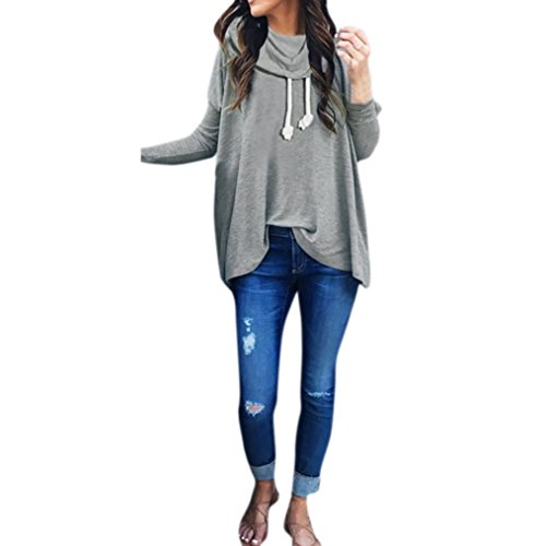 Damen Hoodie Sweatshirt,Dasongff Frauen Frauen Sweatshirt lange Hülsen Schal Kragen Pullover Oberseiten Jumper Tops Bluse (XL, Grau) (Schal Kragen Lange)