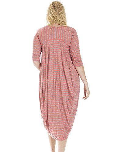 Love My Fashions Damen Asymmetrischer Kleid Korallenrot