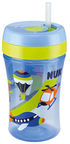 NUK 10255280 Easy Learning Cup Fun mit versenkbarem Trinkhalm aus Silikon, ab 18 Monaten, blau, 300 ml