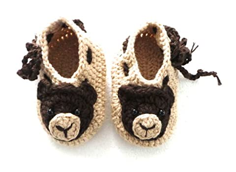 BB.93 Hand-Crocheted Infant's Shoes 6-9 Months Size 18 - Brown Bear