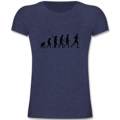 Evolution Kind - Läufer Evolution - 164 (14-15 Jahre) - Dunkelblau Meliert - F131K - Mädchen Kinder T-Shirt