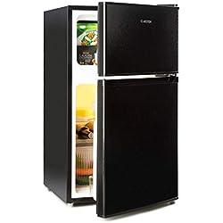 Klarstein Big Daddy Cool Nevera combi • Aislada • Nevera de 61 litros • Congelador de 26 litros • 42 dB • 2 baldas de vidrio • 2 compartimentos en la puerta • Iluminación interior • Accesorios • Negro