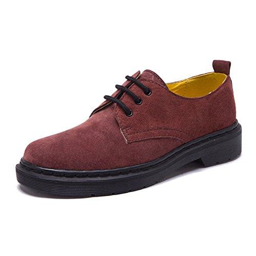 Damen Sneakers Plateau Schnürer Britische Stil Winter Schnürhalbschuhe Rot