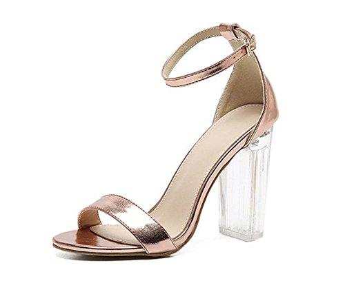 L&Y Donne aperte-toe cristallo trasparente scarpe tacco alto Sandali Banquet Shoes Oro argento Champagne Metallici