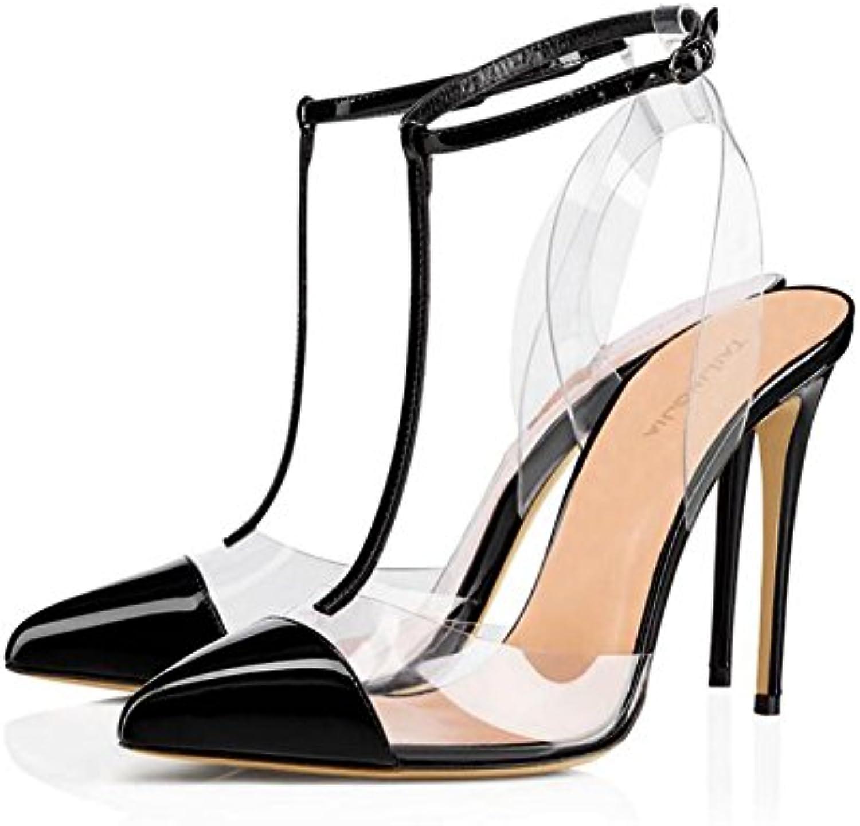 XDGG Rivetto Trasparente Donna Tacco Alto In PVC Sandali Di Grandi Dimensioni Rivetto Fibbia In Pelle Cuciture... | Economico  | Scolaro/Ragazze Scarpa