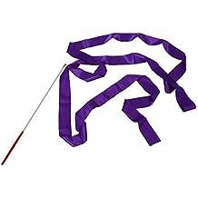 SODIAL (R) 4M Danza Cinta Gimnasio Ritmica Arte Gimnasia Ballet Flamula Giro Vara purpura