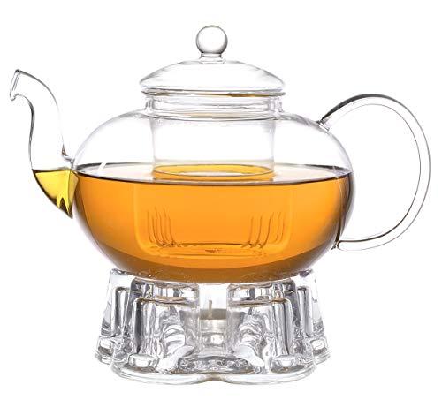 Aricola Teeset Melina 1,8 Liter. Glas-Teekanne 1,8 Liter mit Glassieb und Glasstövchen.