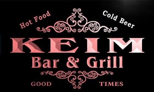 ADV PRO u22917-r KEIM Family Name Bar & Grill Home Beer Food Neon Sign Enseigne Lumineuse