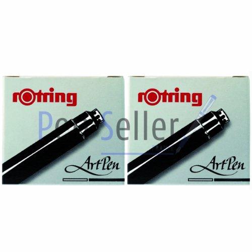Rotring-Patronen für Füllfederhalter Artpen, Schwarz, 6-teilig im Etui, 2 Packungen.