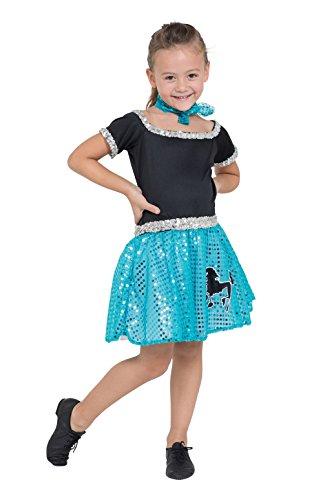 5Kind 's Rock und Roll Kleid, schwarz/silber/türkis, Small, 116cm (Pudel-rock-kostüm Für Kinder)