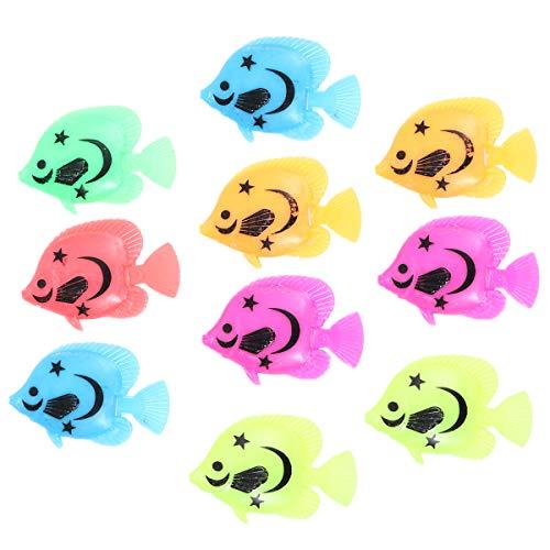 ROSENICE 10pcs Lebensechte Kunststoff Künstliche Bewegung Schwimmende Fische Ornament Dekoration für Aquarium (Zufällige Farbenmuster)