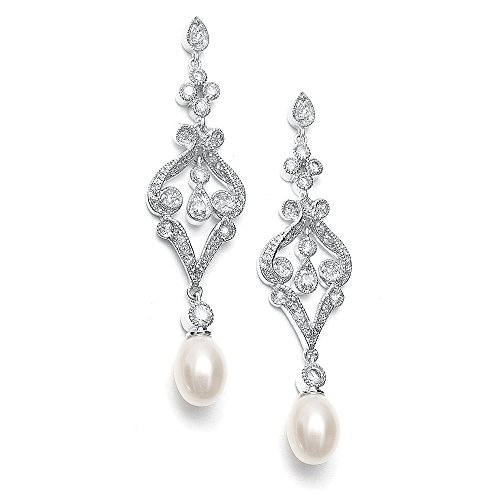 mariell-vintage-cubic-zirconia-rhodium-scroll-bridal-earrings-with-genuine-freshwater-pearl-drops