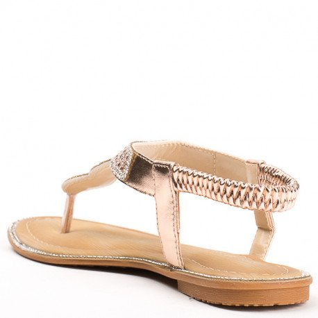 Ideal Shoes - Sandales plates en similicuir incrustées de strass Laenicia Champagne