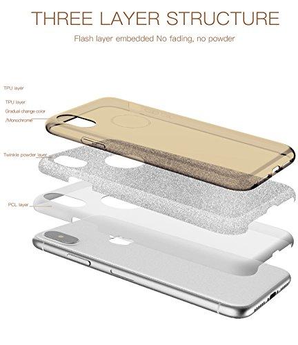 Coque iPhone X, TOZO Housse Brillant [Cristal Bling] Ultra Mince Sparkle Premium 3 Couches Hybride TPU Soft grip Protective Case Cover iPhone 10 / X [Rose Dégradé] Hybrid SHINY Gold