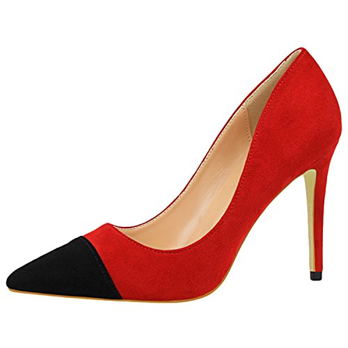 Oasap Women's Pointed Toe Color Block Slip-on Stiletto Pumps red