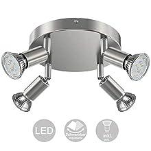 Creyer LED Ceiling Light Rotatable, 4 Way Round Plate LED Ceiling Spot Lights, ø180mm (Including 4x4W GU10 LED Light Bulbs, 400LM, Warm White) LED Ceiling Lamp for Kitchen, Living Room - Matt Nickel