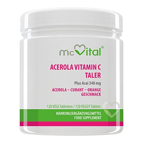 Acerola Vitamin C Taler - Plus Acai und Bioflavonoiden - Mit Abnehm-Effekt - 120 Tabletten - 240 g (Plus Acerola Vitamin)