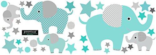 greenluup Öko Wandsticker Wandaufkleber Wandtattoo Kinderzimmer Babyzimmer Kinder Baby Mädchen Junge Tapetensticker ohne Chlor und Weichmacher (Elefant mint türkis)