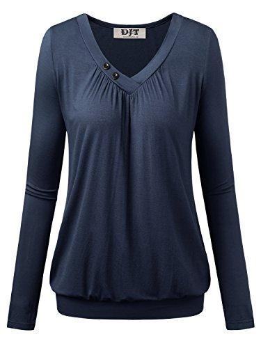 DJT Damen Basic V-Ausschnitt Langarmshirt Falten Casual mit Knopf T-Shirt Dunkelblau X-Large