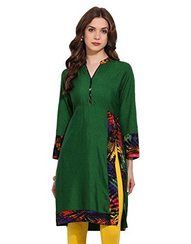 Green Solid Digital Fashion Printed Trim Kurti Small