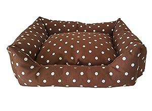 Niche couchette Coussin pour animaux les chiens gatti. pois Marron bianco.Forma Rectangulaire Longueur 60 cm x largeur 50 cm x H 18 cm .Con Coussin Amovible Taille Small