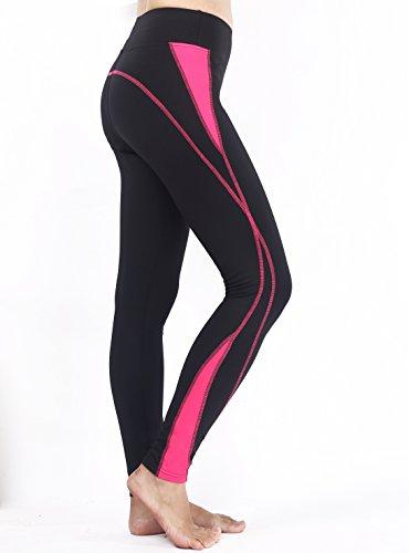 Munvot Herbst/Winter-Kollektion Damen Sport Leggings Hohe Taille Fitnesshose Blickdichte Leggins Glanz Training Tights Strech Yoga Sporthose Strumpfhosen mit Tasche Schwarze Rose XL