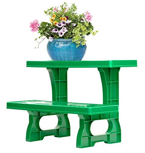 UPP Dekorative Pflanztreppe für Balkon Terasse oder Garten | Blumenbank als Platzsparer für Blumen & Kräuter | Wetterfest und langlebig [2-stufig]