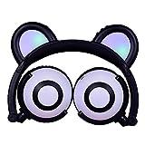 Mamun Kids Headphones with Cat Ear LED On Ear Foldable Headset For Kids Earphone para teléfonos Inteligentes para Auriculares de niños para PC / iPad / Ordenador portátil/iPhone (Negro)