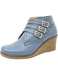 Athlego Women's Synthetic High Ankle Stylish Boot In Blue Color