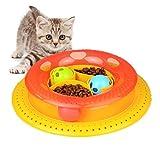 Alaof Katzenspielzeug,Interaktiv Katze Turm Ball Spielzeug,Spaß Turm Bälle & Spur Spielzeug,Haustier Katze Spielzeug Spiel und Übung für Kätzchen,Katzen Teaser Kitty Spielzeug,Red,20 * 25 * 6cm